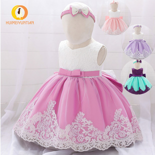 Amazon new baby princess dress baby one-year-old dress bow lace dress baby Dresses