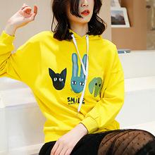 2019春季卫衣女外套女韩版宽松学生新女装针织套头衫卡通图案连帽