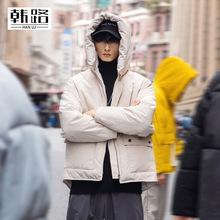 韩路休闲男装 冬季羽绒棉衣2019新品连帽加厚面包服宽松工装棉服