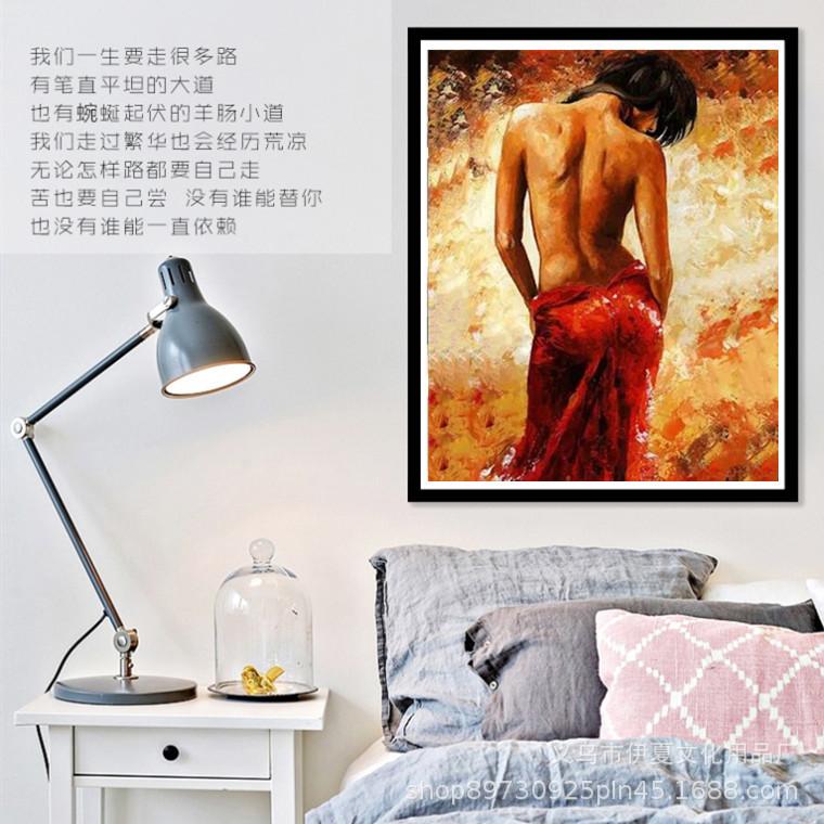 數字油畫 diy跨境電商  性感掛畫裝飾畫diy油畫 手繪人物畫 40*50