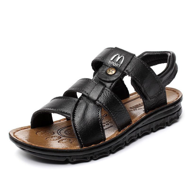 软面男童时尚小中大童露趾沙滩鞋小学生儿童真皮宝宝凉鞋26-40号