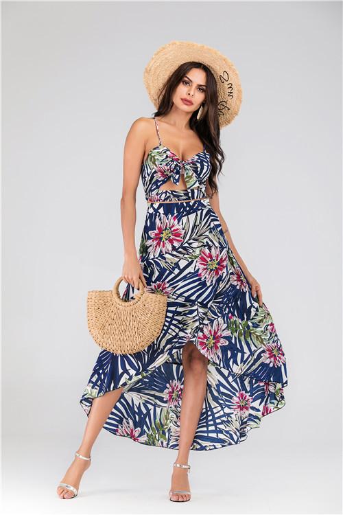 实拍 速卖通亚马逊热销波西米亚吊带两件套连衣裙