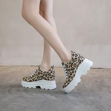 温州内增高帆布女鞋厚底圆头系带休闲鞋松糕跟9厘米豹纹女单鞋潮