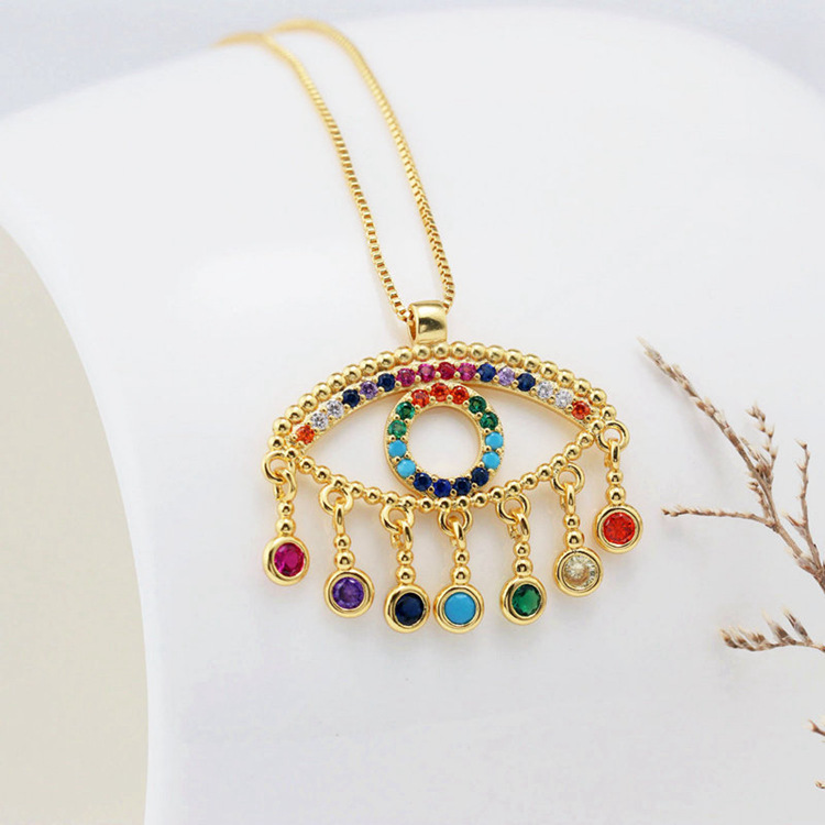 Fashion new color zircon eye copper necklace NHLN146880