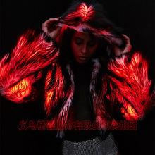 亞馬遜爆款秋冬女裝LED服裝歐美新款發光仿皮草外套個性舞臺裝