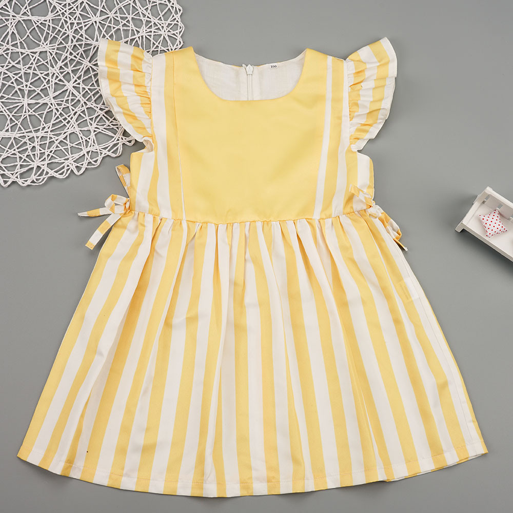 Ins Amazon explosion models 2019 summer girls striped dress kids dress one to be sent