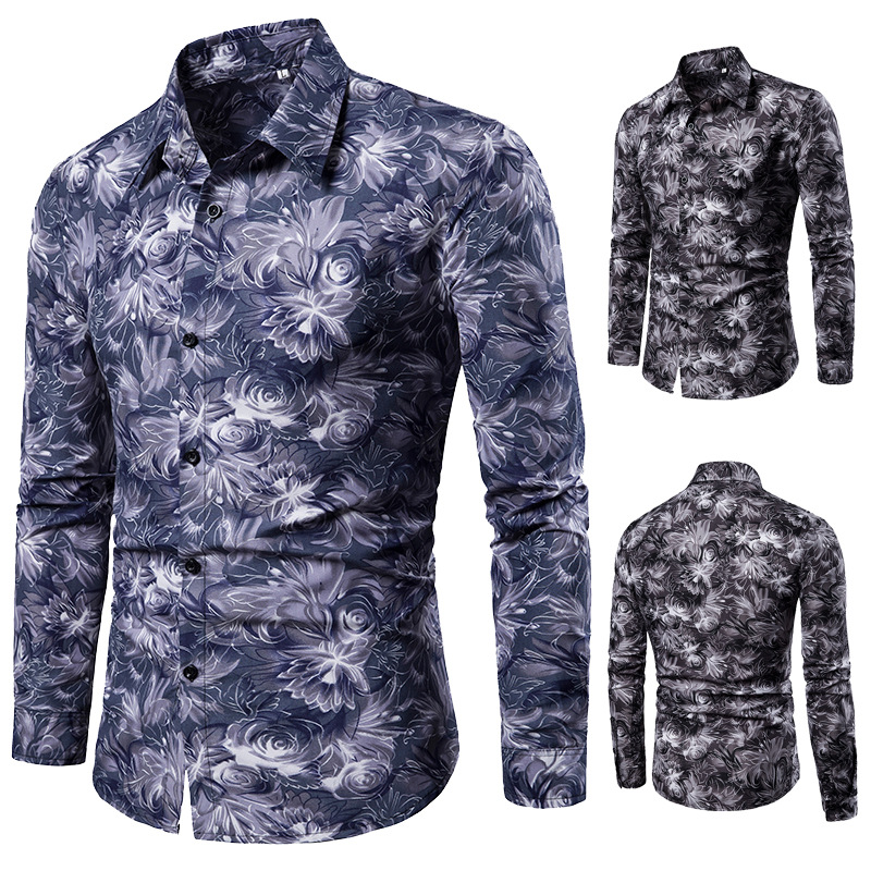 2019 cross border independent station Lapel men's fashion slim fit Floral Casual printed shirt long sleeve youth shirt