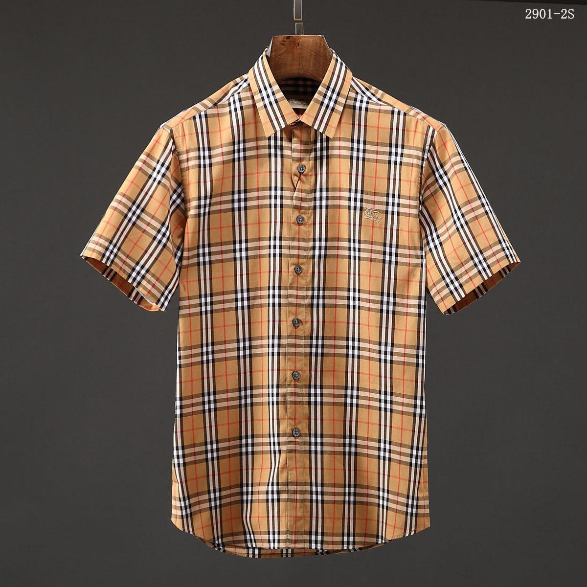 品牌原单格子衬衫 男短袖咖啡色小格子经典男款衬衣卡其格子衫潮