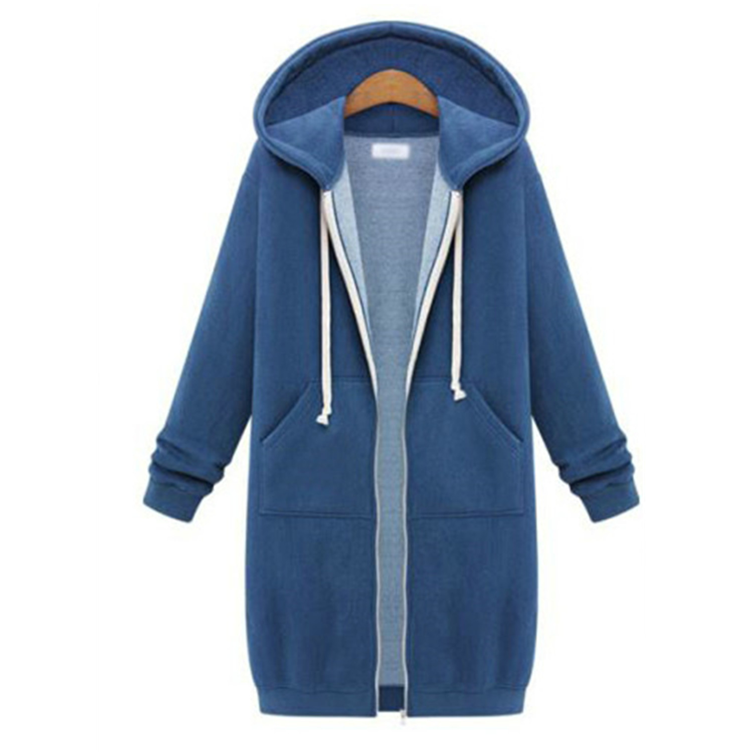 Winter / autumn / 2019 wish popular women's clothing European and American hooded long sleeve medium length solid color zipper and plush coat sweater