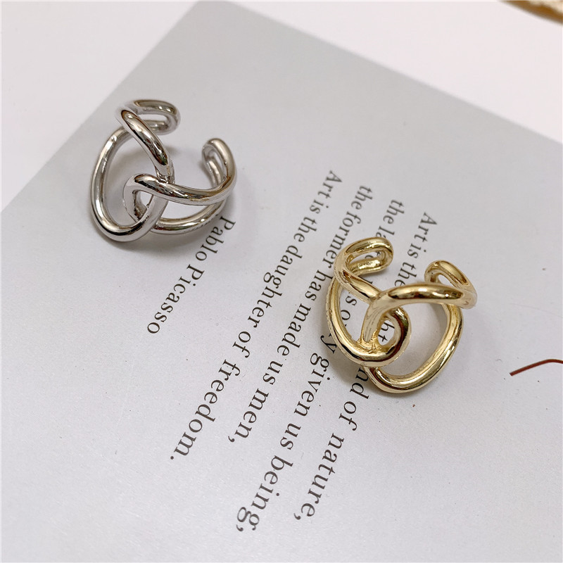 Minimalist metal ring female round line intertwined brass gold plated hollow ring NHYQ185666