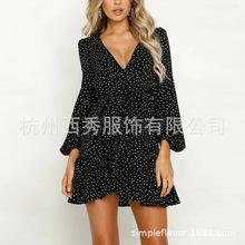 杭州西秀欧美秋冬女装黑色v领性感圆点长袖派对沙滩迷你连衣裙