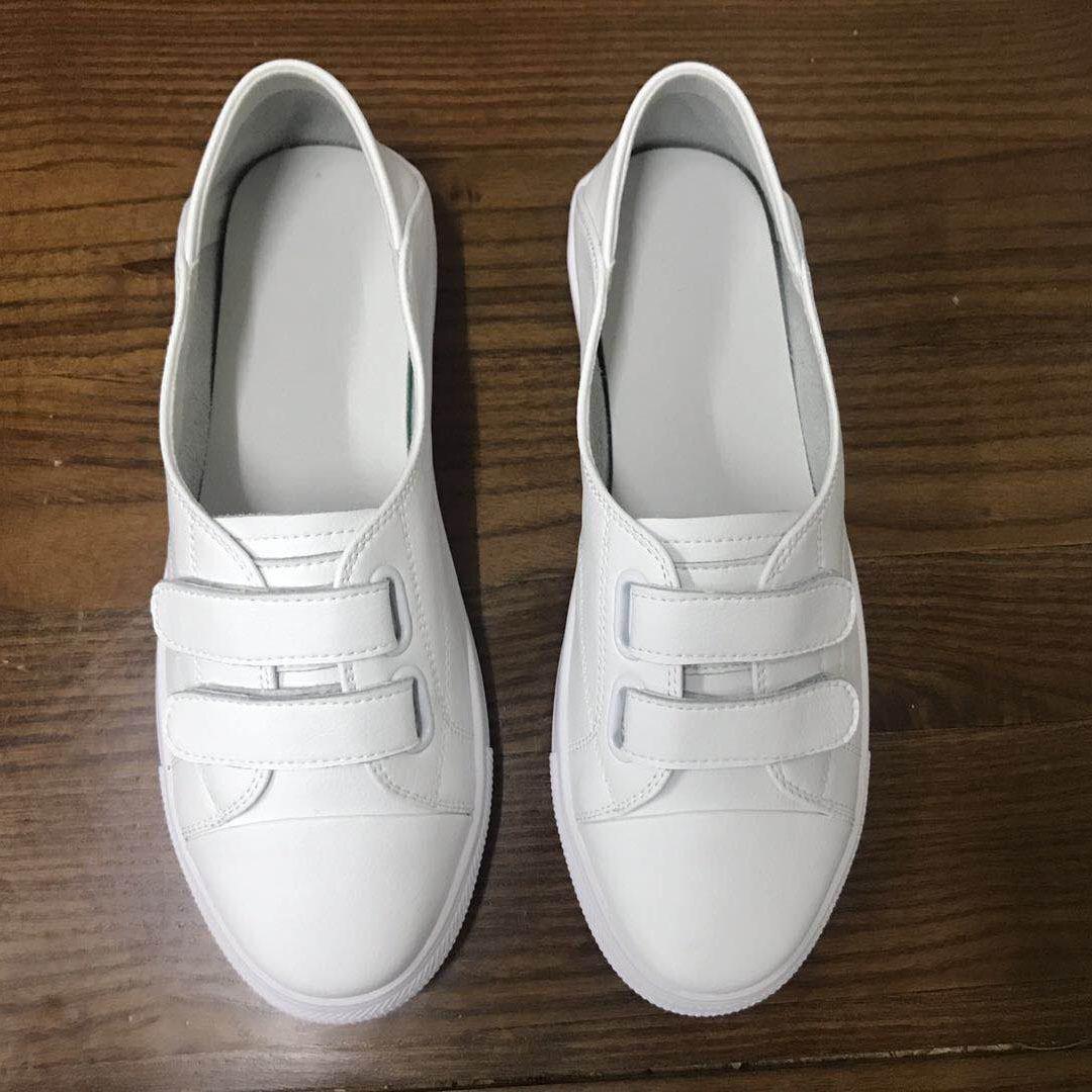 魔术贴小白鞋女夏款2020夏季浅口一脚蹬平底懒人透气单鞋春款