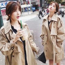 风衣女中长款韩版春季2019新款修身翻领双排扣女装矮个子chic外套