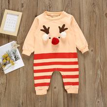 婴儿连体衣圣诞节新款长袖卡通驯鹿条纹爬服立体球球春秋婴儿服装