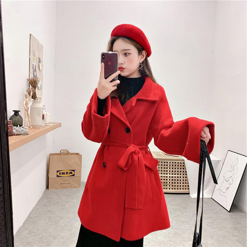 韩版2019新款毛呢大衣秋冬中长款羊毛大衣双面呢羊绒大衣外套女