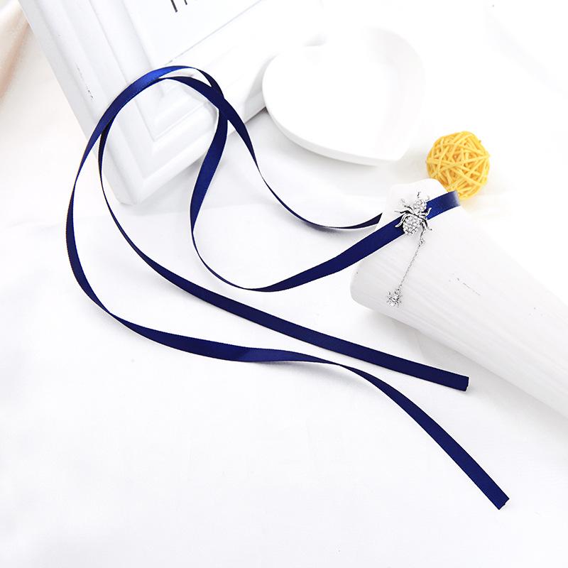 Korean Ribbon Necklace Diamond Choker Collar Female Long Necklace NHQD187914