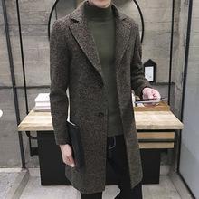 2020爆款秋冬新款养眼修身雪花呢风衣男士中长款大衣外套一件代发