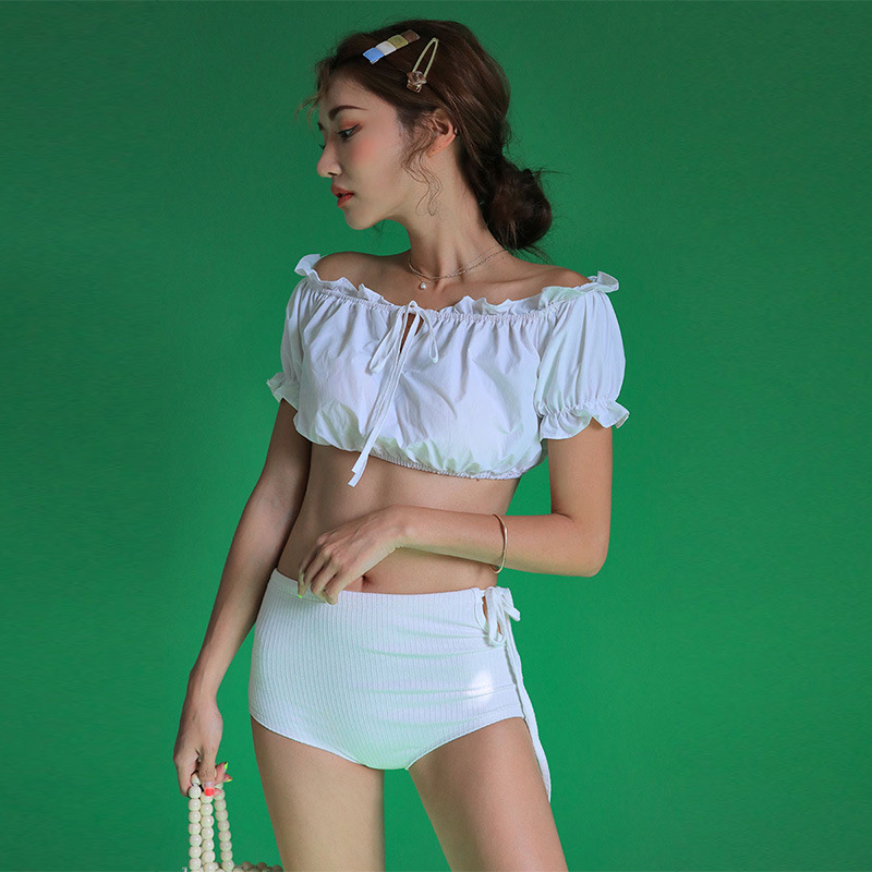 New split white sweet sexy pleated shoulder strap women NHHL198330