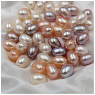 Natural Freshwater Pearl 7-8mm Strong Light Nearly Flawless Colored Half Hole Rice Bead diy Stud Earrings Earrings Jewelry Accessories