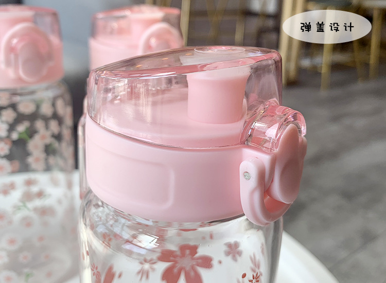 Pink simple transparent flower love glass couple couple cover water cup NHtn203945