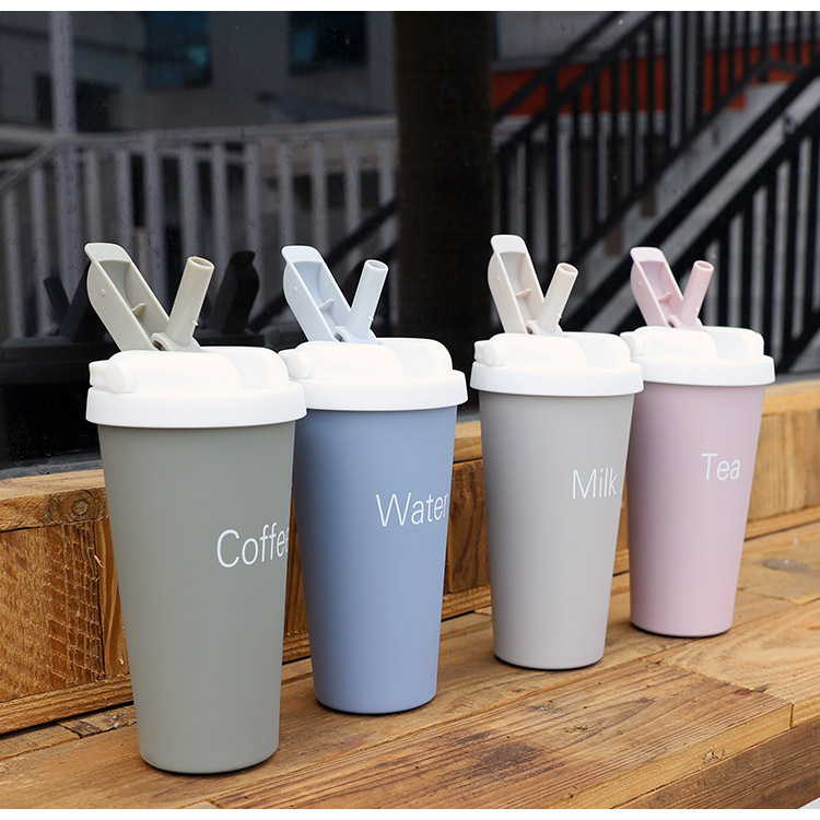 Korean stainless steel mug portable coffee cup with straw simple student water cup NHtn203950