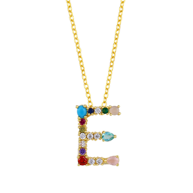 Womens Alphabet / Number / Text inlaid Zircon Copper Plated 18K Alloy Simple Necklaces NHAS125408