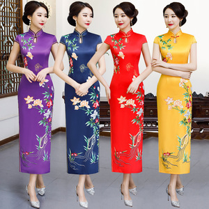Chinese Dresses Qipao for women robe chinoise cheongsam Long and short sleeve standing collar cheongsam dress retro cheongsam dress party dress
