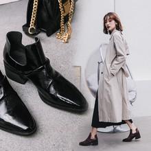 2019秋冬新款胎牛皮中性风低跟女褶皱侧空短靴加绒保暖切尔西靴女