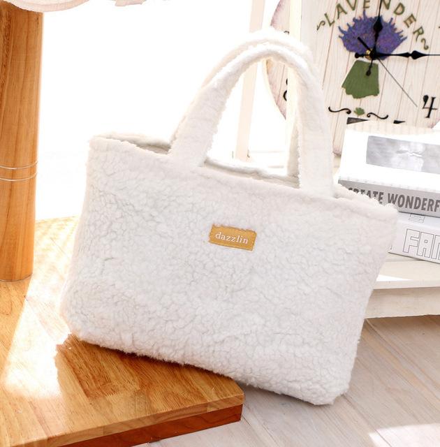 日本dazzlin杂志款时尚羊羔绒白色手提袋小拎包便当袋