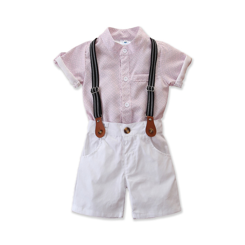 Samgamibaby children's clothing store ins hot sale Summer Boys' gentlemen's suit printed shirt with strap shorts