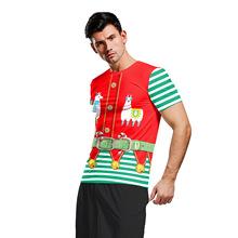 外貿歐碼上衣2019新款趣味羊駝印花圓領圣誕節服裝 歐美青年短袖