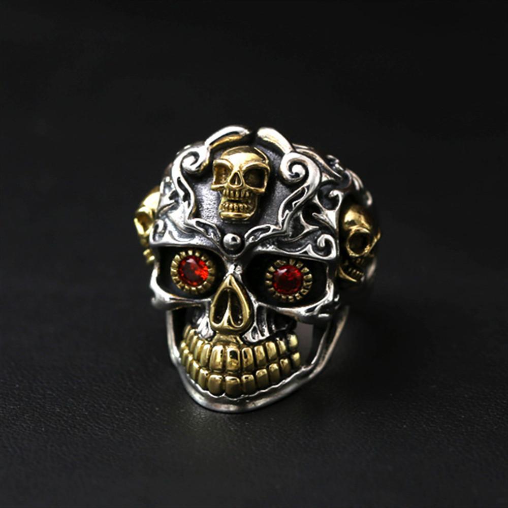 保胜wish跨境饰品厂家批发个性男士复古戒指欧美骷髅头食指指环