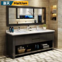 簡約儲物浴室柜鏡柜實木組合北歐套裝風風格輕奢雙盆洗漱臺現代。
