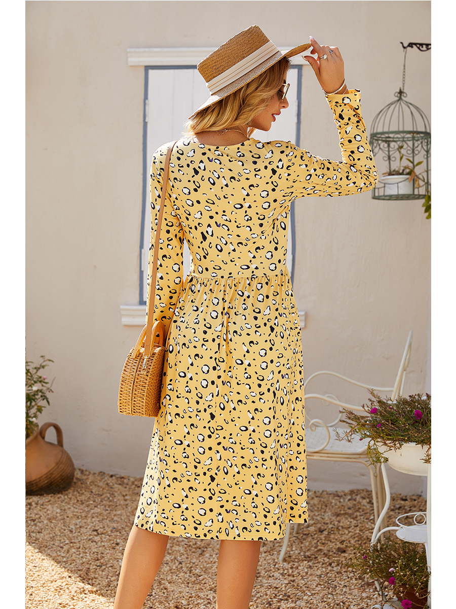 autumn and winter round neck long sleeve fashion new flower dress NSAL2914