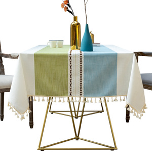 Tablecloth table cloth table cover Nordic fringed table cotton linen art dustproof dining table with kitchen western table decoration customized