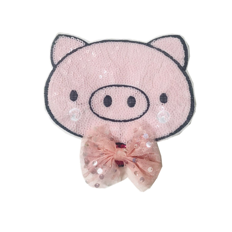 Bow cartoon pig head sequins embroidered cloth patch patch NHLT130122