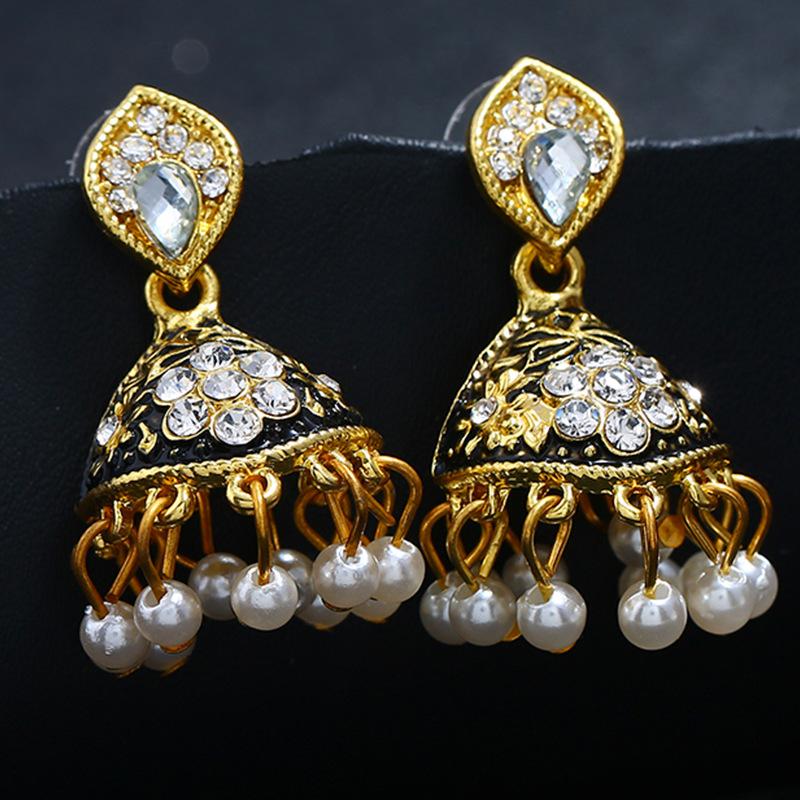 Alloy Bohemia Flowers earring  (Black imitation alloy smeared)  Fashion Jewelry NHKQ2362-Black-imitation-alloy-smeared