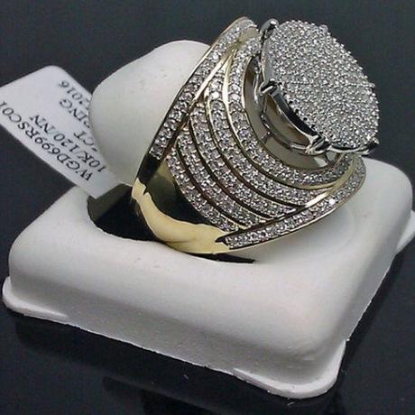 Thương mại điện tử xuyên biên giới bán đồ trang sức nóng nổ Nhẫn nam mạ vàng châu Âu và kim cương đầy đủ kim cương đeo nhẫn nam Nhẫn