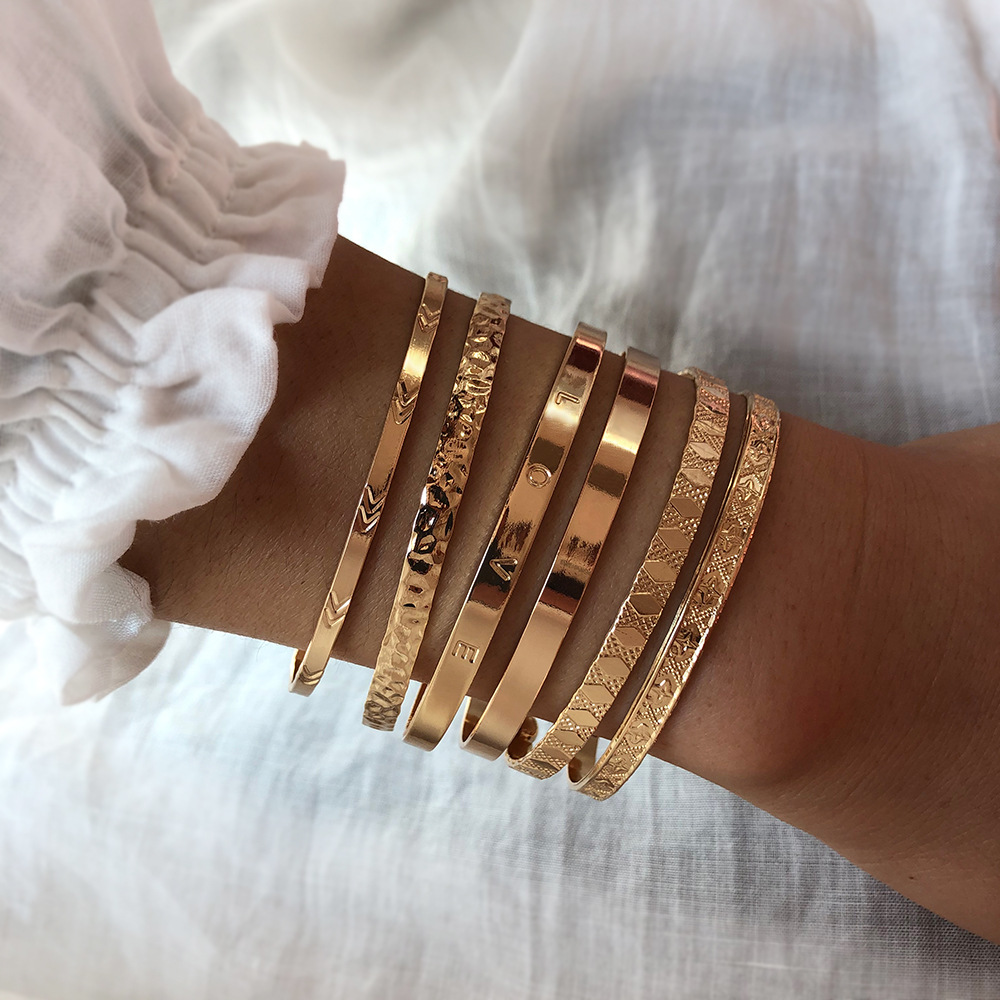 Jewelry Exaggerated Combination Set Metal Bracelet Open Gold Wide Bracelet