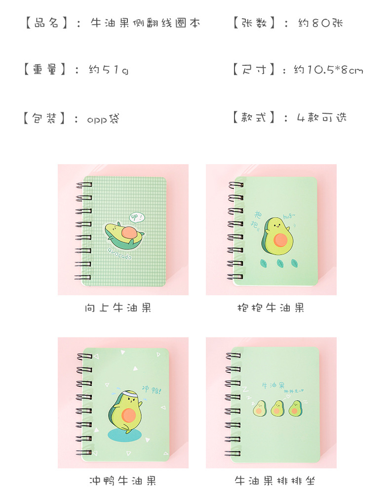 A7 creative cute avocado rollover coil student portable pocket notepad blank word notebook NHKU184733