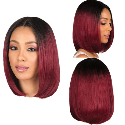 Bob Hair Wigs Perruques Bob Hair Pelucas De Cabello Bob Dyed Bobo wig female pin short straight hair black gradual wine red wave head