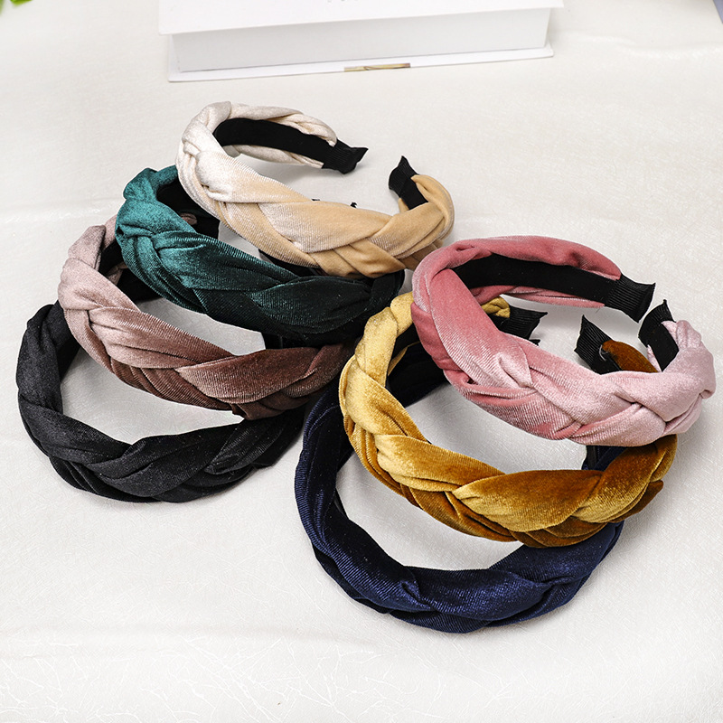 Velvet fabric tweezers headband Korean creative twist headband hairpin NHDM173124