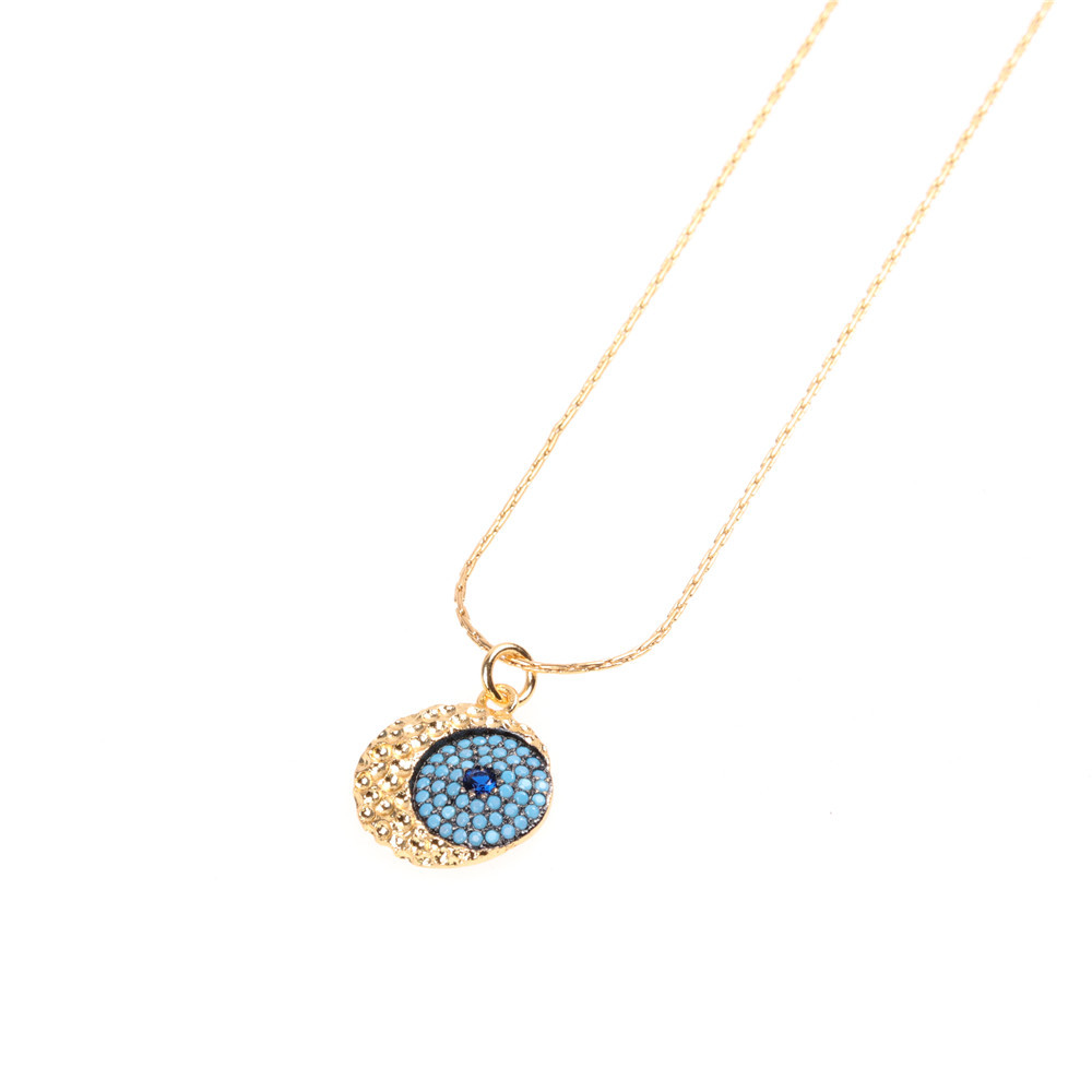 New jewelry necklace pendant blue inlaid zircon eyes clavicle chain wholesale NHPY184635