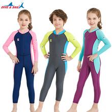 新款儿童泳衣小女孩连体长袖防晒速干潜水服男中大童游泳装温泉衣