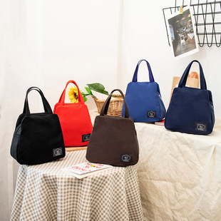 【Lunch bag】Winter new style canvas classic lunch bag, casual polyester lining, large capacity classic lunch bag