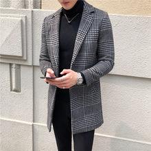 男士羊毛呢子大衣 青年秋冬韩版修身中长款绅士格子风衣 一件代发