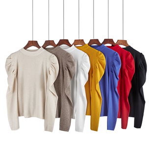 2021 South Korea Dongdaemun spring new product all-match slim-fit pleated bubble sleeve knit bottoming shirt