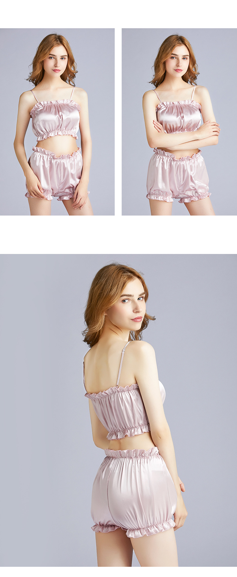 fashion silk sexy pajamas ladies summer wrapped chest shorts two-piece suit home service thin section wholesale nihaojewelry NHJO221802