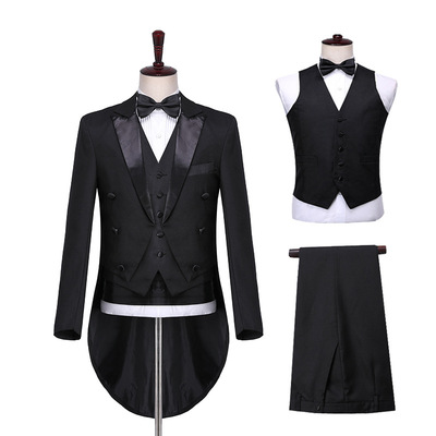 men's jazz dance suit blazers Male magician black and white light tuxedo bel canto stage performance chorus conductor vest suit