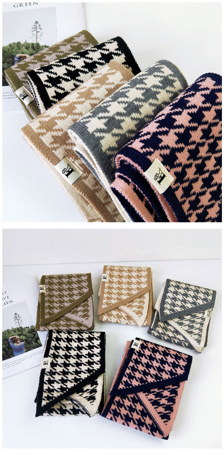 Houndstooth beveled scarf scarf female winter long couple students warm knitted wool scarf NHMN184294